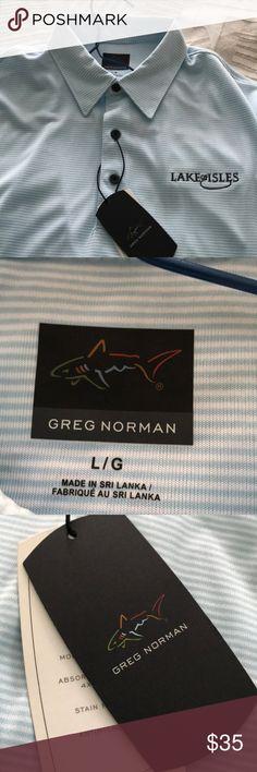 Men's NWT Greg Norman golf shirt Nice teal and white striped Men's large Golf Shirt. By Greg Norman. greg norman Shirts Polos