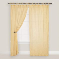 One of my favorite discoveries at WorldMarket.com: Yellow Crinkle Voile Curtain bedroom?