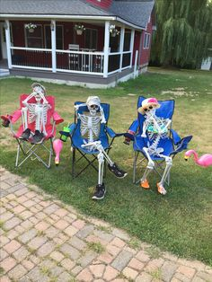 Hear no evil, see no evil, speak no evil. Our front yard.