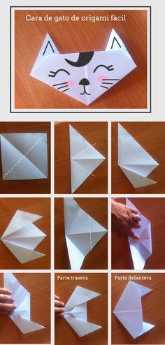 Origami cat. Gato de origami: http://manualidades.euroresidentes.com/2013/05/como-hacer-un-gato-de-origami-muy-facil.html