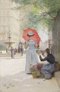 Victor Gilbert - Jeune femme à l'ombrelle achetant des fleurs