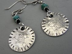 Owl Man Petroglyph Earrings  Recycled Silver  by WarmWindsDesigns, $75.00