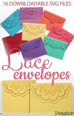 These elegant envelopes have beautiful, intricate lace designs on the back that can seal up an extra special card or invitation. Includes 16 unique files to fit a standard card or a square card.Informations About Lace Envelopes Co Cajas Silhouette Cameo, 3d Cuts, Diy Envelope, Envelope Templates, Card Making Templates, Card Making Tutorials, Shilouette Cameo, Cricut Craft Room, Cricut Tutorials