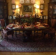 The Enchanted Home: Decorating with transferware and a beautiful giveaway!minus the fabric on the chairs. English Country Decor, French Country Decorating, Country French, French Decor, Victorian Decor, Victorian Homes, English House, English Style, English Inn