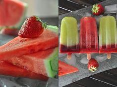Wassermelonen- und Honigmelonen Eis am Stiel