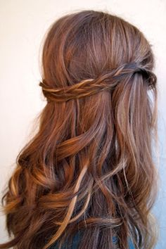 long wavy brown hair with braid