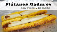 Delicious baked sweet plantains with melted mozzarella cheese and guava paste. Guava Cheese Recipes, Baked Plantains, Guava Paste, Plantain Recipes, Queso Mozzarella, Colombian Food, Wonderful Recipe, Hot Dog Buns, Dessert Recipes