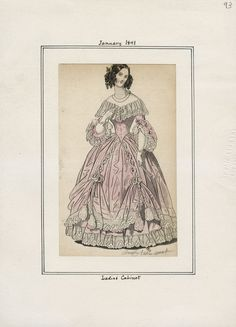 Casey Fashion Plates Detail | Los Angeles Public Library Collection ID:  3 Title:  Ladies' Cabinet Date:  Friday, January 1, 1841 Item ID:  v. 23, plate 93
