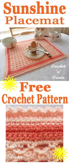 Crochet double small shell sunshine placemat, free crochet pattern from #crochetncreate