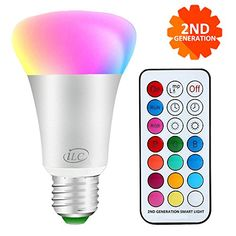 cool iLC Bombillas Colores RGBW LED Bombilla Regulable Cambio de Color 10W E27 - 12 Color - Control remoto Incluido para Casa/ Decoración / Bar / Fiesta / KTV Ambiente Ambiance Iluminación