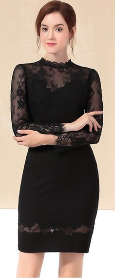 Vintage Long Sleeve Mesh Stitching Bodycon Dress