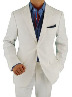 Bianco Brioni Made in Italy Men's Linen Modern Fit 2 Button Suit