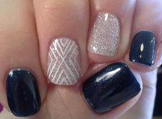 Shellac Nails, black and glitter