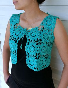 Discover thousands of images about Granny Square Green Vest Crochet Sweater Lace Top Romantic Crochet Bolero Pattern, Crochet Lace Dress, Crochet Square Patterns, Crochet Jacket, Crochet Stitches Patterns, Crochet Cardigan, Crochet Shawl, Crochet Designs, Shorts E Blusas