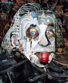 Albert Einstein 1 Créations anamorphiques avec des objets recyclés par Bernard Pras
