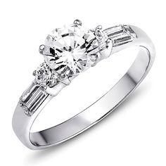 VE-01149 Sterling Silver Cubic Zirconia CZ 3-Stone Engagement Ring (5) #Jinique http://www.amazon.com/dp/B00SVWZCX4/ref=cm_sw_r_pi_dp_5.Tewb1CG67F6