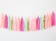 Peach and Mint Green Tassel Garland - Hot Pink Birthday Party Decor, Mint Green and Peach Decor Hot Pink Nursery Decor, Pink Decor Peach Decor, Jungle Party Decorations, Barbie Party, Flamingo Party, Tassel Garland, Tropical Party, Red Christmas, Mint Green, Diys