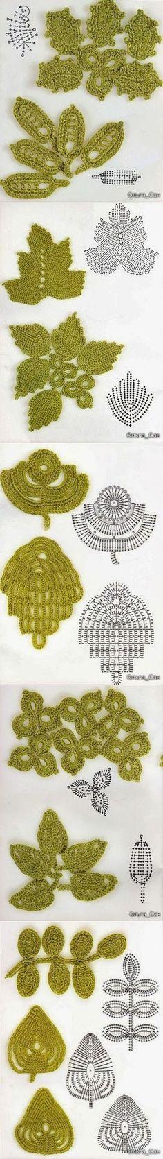 #Crochet_Stitches -- Beautiful leaves with charts! Enjoy from #KnittingGuru ** http://www.KnittingGuruDesigns.blogspot.com