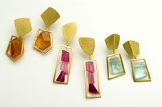 Framed earrings in 18 carat gold with citrines, pink tourmalines and aquamarines