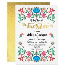 Gold Foil Floral Mexican Fiesta Baby Shower Invitation Gold Invitations, Bridal Shower Invitations, Birthday Party Invitations, Custom Invitations, Invites, Mexican Wedding Invitations, Mexican Fiesta Birthday Party, Mexican Party, Bridal Shower Flowers
