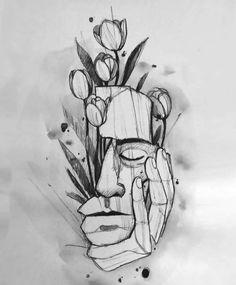 Dark Art Drawings, Pencil Art Drawings, Art Drawings Sketches, Sketch Art, Tattoo Drawings, Kritzelei Tattoo, Dark Art Tattoo, Sketch Tattoo Design, Arte Sketchbook