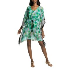 No beach bag is complete without an essential kaftan. This tropical print kaftan will be your go-to cover up. The sheer poly chiffon and boxy cut ensures a cool and comfortable fit, while the drawstring waist accentuates your curves and the tassel trim a Drawstring Waist, Kaftan, Tassels, Curves, Cover Up, Chiffon, Tropical, Dresses, Fashion