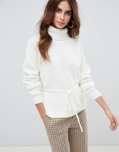 ac78f8ab2bb06 Fashion Union Roll Neck Jumper With Waist Tie at asos.com