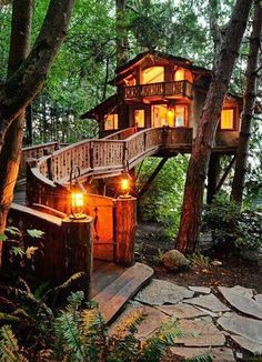 And in the backyard ... a treehouse like this ...