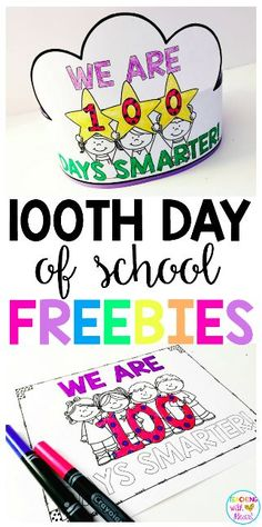 "Celebrate your 100th day of school with these FREE 100th day activities! Two versions of the ""We are 100 Days Smarter"" hat are included and Two versions of the ""We are 100 Days Smarter"" coloring page are included!"