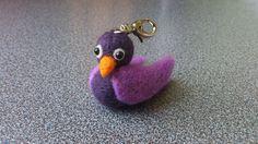 Needle felted miniature bird keyring keychain by FeltedByRikke, $13.75