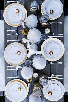 table de noel blanc et or