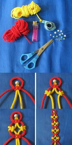 DIY macrame pattern bracelet craft but not these colors Macrame Knots, Micro Macrame, Macrame Jewelry, Macrame Bracelets, Diy Bracelet, Bracelet Photo, Diy Necklace, Yarn Crafts, Diy Crafts