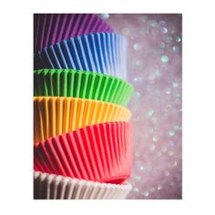 Colorful Cupcakes, Cupcake Liners, Rainbow, Kitchen Art, Kitchen Decor, Bokeh, Vertical Image
