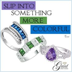 Life is like a rainbow, be colorful!  #sapphires #Diamonds #emeralds #tanzanite #Fashionring #Ringselfie #TheGrandExperience #shoppingtime #Jewelry #dazzle http://www.grandjewelers.com/jewelry/rings/59588