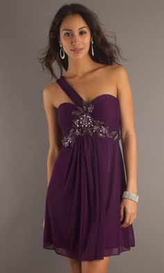 One Shoulder Homecoming Dress, Short One Shoulder Dress- PromGirl