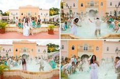 trash the dress Jamaica fun splashing in the fountain Gran Bahia Principe
