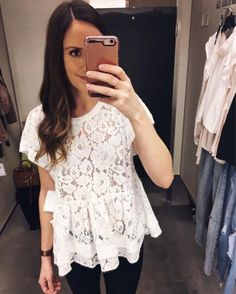 Lace Peplum Top. Spring Style. White Lace Top for spring. Spring Outfit. Feminine Style