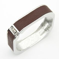 Elegant Square Shape Fashion Bangle - Silver With Brown