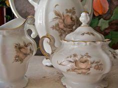 China Coffee Pot Set Sepia Rose Johann Haviland by cynthiasattic, $119.00