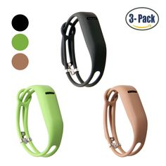 "Hotodeal Replacement Bands for Fitbit Flex, Fashion Adjustable Silicone Wristband, Hollowed Design with Secure Metal Clasp, Prevent Tracker Falling Off, Comfortable, Pack of 3 (Black+Green+Brown). SOFT SILICONE -- TPE+TPU composite material, breathable elastic band, sold by Hotodeal. FITS FITBIT FLEX ONLY -- Specifically designed for fitbit flex. Features a top window cutout that reveals the device LED lights. ADJUSTABLE SECURE WRISTBAND DESIGN -- One size fits most wrists (Fits 5.5""…"