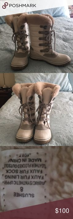 Steve Madden winter boots White fur lined Steve Madden winter boots size 8.  Only worn once. Steve Madden Shoes Winter & Rain Boots