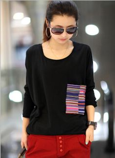 Stripped Pocket Patchwork Long-sleeved T-shirt