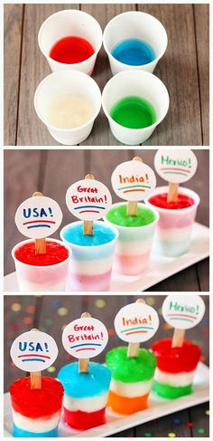 Flag Freezer Pops are a fun idea for World Cup soccer kids. Soccer Birthday Parties, Soccer Party, Birthday Fun, Frozen Desserts, Frozen Treats, Just Desserts, Do It Yourself Food, New England Patriots, Thinking Day