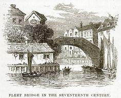 Fleet Bridge in the Seventeenth Century. Illustration from unidentified late 19th century history of England.