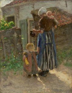 Bernardus Johannes Blommers (Den Haag 1845-1914) Jonge moeder met kinderen - Kunsthandel Simonis en Buunk, Ede (Nederland).