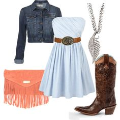 Baby Blue Strapless Dress with Brown Belt, Light Denim Jacket, Cowgirl Boots, Peach Fringed Purse, Silver Leaf Necklace