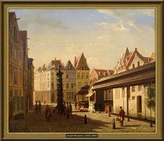 Joseph Maswiens - Zicht op de oude Vismarkt te Leuven (ca 1871) [Museum M Leuven]