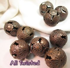 8 Copper Round Floral Beads -CA. Starting at $3 on Tophatter.com!