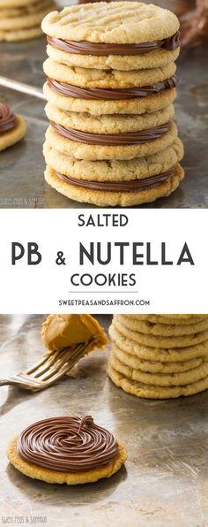 Salted Peanut Butter & Nutella Cookies | sweetpeasandsaffron.com @sweetpeasaffron