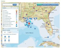 Social Media Geo - Monitoring Tool   ESRI's software allows you to view location based feeds in real time including recent news, threatened  wildlife sites, Tweets , Twitter photos, and YouTube videos. You can also add your own content and updates which allows for input from real people - unbiased by any of the media, corporate and PR outlets. In our humble opinion, this is Social Media at its best.